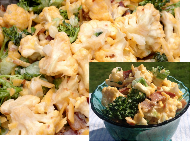Broccoli Cauliflower Bacon Salad