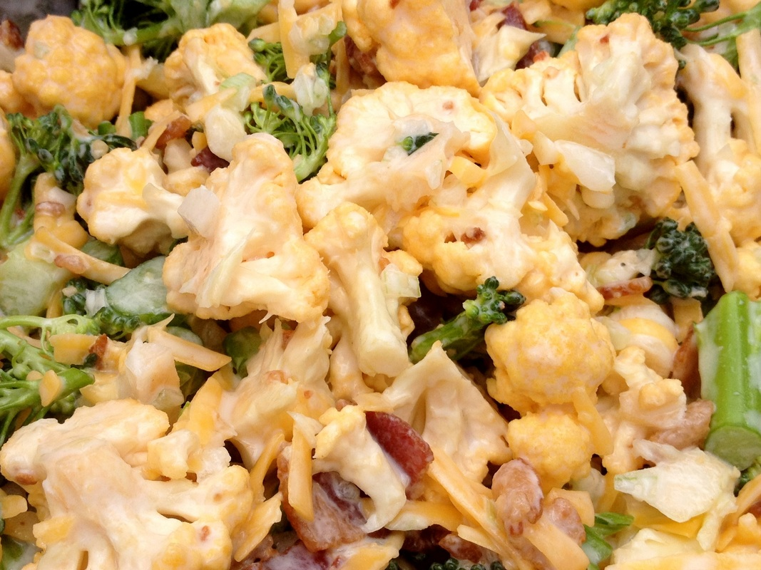Broccoli Cauliflower Bacon Salad low carb and gluten free!